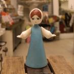 アンティーク人形 水色の服の女の子 ソフビ