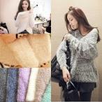 モヘアニット シャギーニット セーター 暖か ゆるふわ もこもこ 大人気 編み 毛糸 秋冬 おすすめ ゆうメール送料無料
