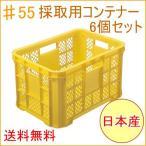 採集用コンテナー #55 6個セット 一部地域送料無料 日本製 家庭農業 農業 畑 収穫 収穫かご メッシュ 積み重ね コンテナ