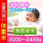 出産内祝い米 無農薬米 体重米 2000g-2499g/送料無料・名入れ メッセージカード付き