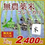 無農薬米 コシヒカリ 無洗米 2kg(1kg×2袋)/アイガモ米 自然栽培米 新潟米 エコ包装