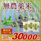 無農薬米 コシヒカリ 無洗米 30kg(10kg×3袋)/アイガモ米 自然栽培米 新潟米
