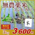 無農薬米 コシヒカリ 無洗米 3kg(1kg×3袋)/アイガモ米 自然栽培米 新潟米 エコ包装