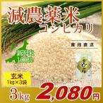 お米 3kg(1kg×3袋) 玄米 コシヒカリ 新潟県産 減農薬米 岩船産 こしひかり 令和2年産