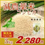 お米 3kg(1kg×3袋) 無洗米 コシヒカリ 新潟県産 減農薬米 岩船産 こしひかり 令和元年産