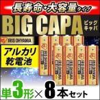 アルカリ乾電池 BIG CAPA 長寿命・大容量タイプ 単3形8本パック アイリスオーヤマ 【メール便】