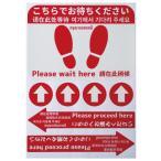 お客様案内シール(赤)お店の床に貼るA3台紙セット【足型四角−こちらでお待ちください×1 円形矢印×4 矢印−こちらへお進みください×2】の画像