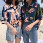 アロハシャツ レディース ハワイ おしゃれ 花柄 半袖 トロピカル  サマー ゆったり 着心地 夏 海 ピンク ブルーグリーン