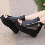 サンダル レディース 厚底 オープントゥ シースルーブーツサンダル 可愛い 歩きやすい 履きやすい ファスナー 黒 ブラック
