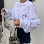 レディース ロンT 長袖 Tシャツ オーバーサイズ ロングスリーブ クルーネック ゆったりTシャツ ブラック ホワイト Mサイズ Lサイズ XLサイズ