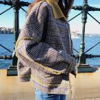 ブルゾン ショートコート レディース ボア チェック柄 オーバーサイズ ジャケット 可愛い おしゃれ 韓国ファッション 10代 20代 30代