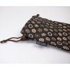 千糸繍院 西陣織 金襴 巾着袋(裏地付き) 唐花文様/濃茶 大サイズ