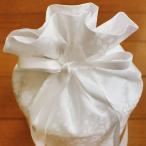 仏具 骨壷 4寸 小桜 ホワイト 覆い袋 付き 巾着タイプ 手元供養