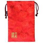 千糸繍院 西陣織 金襴 巾着袋(裏地付き) 薔薇浪漫/紅 大サイズ