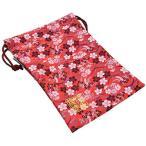 千糸繍院 西陣織 金襴 巾着袋(裏地付き) 黒紅白桜/朱 大サイズ