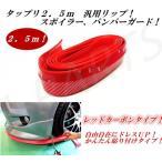 汎用リップスポイラーモール カーボン&レッドカラー長さ2.5M バンパーガードキズ防止バンパーかんたん貼り付け