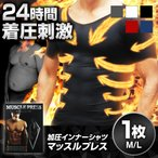 加圧シャツ 加圧インナー メンズ MONOVO マッスルプレス 1枚 Vネック 半袖 筋力サポート 金剛 力士を目指す