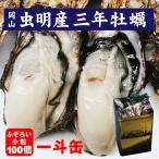 殻付き 牡蠣 一斗缶 約100個 岡山県虫明産 3年もの 不ぞろい小粒あり