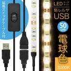 ((ON/OFFスイッチ USB 延長ケーブル付))「LEDテープライト 貼レルヤ USB(電球色)50cm 30灯 + USB延長ケーブル 1m セット」