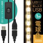 ((ON/OFFスイッチ USB 延長ケーブル付))「LEDテープライト 貼レルヤ USB(電球色)1m 60灯 + USB延長ケーブル 1m セット」