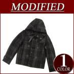 MODIFIED ウール53% ショート丈 オンブレチェック メルトンウール ダッフルコート