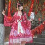 Lolita ドレス 洋装 古風 桜 フェミニン フリル リボン 髪飾り