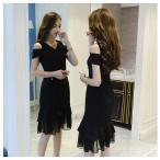 ドレス マーメイドライン 美しい スリム 着やせ ブラック