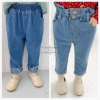 子ども服 パンツ ファッション感 デニムパンツ 人気  女の子 韓国 通学 ブルー ゆったり