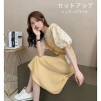 レディースファッション ワンピース セットアップ 水玉 夏 半袖 Tシャツ ワンピース上下セット 上品 オシャレ 韓国風 20代 セットアップ