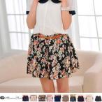 フレアスカートミニシフォンスカート花柄ショートパンツペチコートベルト付き全10柄