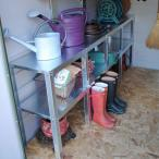 屋外物置・収納庫・バイクガレージ メタルシェッドオプション棚 2段ワークベンチ