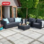 [送料無料対象外] ガーデン チェア ソファ ローテーブル 屋外用 雨ざらし 「ケター (KETER) サルタ 3人掛けガーデンソファー・テーブル 4点セット」