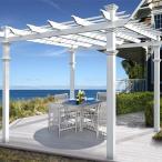 ホワイト パーゴラ 樹脂製 おしゃれ ガーデンアーチ バラ テラス屋根 キット 組立式「イタリアンパーゴラ」