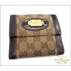 グッチ Wホック二つ折り 財布 GGキャンバス×レザー ブラウン 145747
