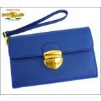 ショッピングプラダ ストラップ プラダ PRADA  ストラップ付き2つ折り財布 ブルー サフィアーノ レザー