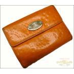 セリーヌ Wホック財布 レザー マカダム型押し オレンジ