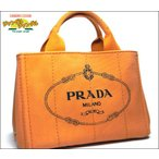 プラダ PRADA  ハンドバッグ カナパトートバッグ キャンバス オレンジ×ゴールド金具
