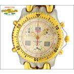 TAG HEUER タグホイヤー セルシリーズ クロノグラフ メンズ腕時計 SS×GP×レザー(ブラウン) クオーツ アイボリー文字盤