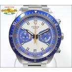 チュードル メンズ腕時計 ヘリテイジクロノ Ref.70330B SS 自動巻き ブルー・オレンジ・ ...