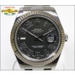 ロレックス ROLEX デイトジャスト2 Ref.116334 ランダムシリアル SS/K18WG ブラックローマン文字盤 メンズ腕時計 中古