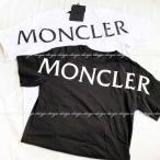 モンクレール Moncler  ビッグロゴ ショルダー 半袖Tシャツ ブラック ホワイト