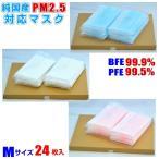 マスク 純国産 PM2.5 対応 マスク Mサイズ 24枚入 ネコポス便 送料無料 (使い捨て/ウイルス/日本製/黄砂/花粉)