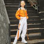キッズダンス衣装 ヒップホップ ダンス衣装 キッズ ダンスパンツ ヒップホップダンスパンツ ダンス衣装 ロングパンツ ヘソ出しトップス