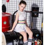 ダンス スパンコール衣装 キッズ ヒップホップ チア チアガール 3点セット ベスト スカート ジャズセットアップ 女の子 原宿系 衣装 hiphop jazz