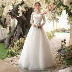 パーティードレス 結婚式ドレス 袖あり ウェディングドレス ロング丈 二次会ドレス 白い ロングドレス Vネック ゲストドレス 透け感レース 演奏会 披露宴