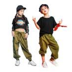 キッズ ダンス衣装 ヒップホップダンス衣装 男の子 女の子 ロングパンツ カーゴパンツ HIPHOP へそ出し丈 ジャズダンス ダンスウエア キッズダンス衣装 衣装
