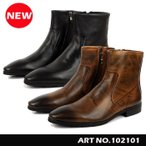 本革 メンズブーツ  ビジネスブーツ ショットブーツ インサードジップ  紳士靴  ロングノーズ102101