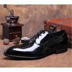 ショッピングエナメル セール価格 メンズシューズ ビジネスシューズ 本革 レースアップ 紳士靴 内羽 エナメル ロングノーズ 75807BK