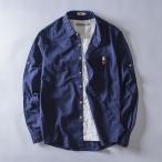 ショッピングネイビー リネンシャツ メンズ 長袖 綿麻 ネイビー カジュアル リネン 白 襟付き 春 大きい ポケット付き