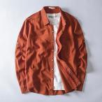 長袖シャツ メンズ カジュアル 大きい 白 リネン 襟付き コットン 春